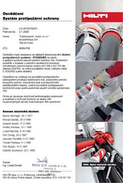 Osvědčení – systém protipožární ochrany HILTI – Elektromont – Hulín