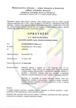 Oprávnění k provádění montáží a oprav určených technických zařízení – Ministerstvo obrany ČR
