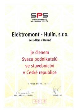 Člen Svazu podnikatelů ve stavebnictví v ČR – Elektromont – Hulín