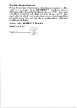 Výpis z evidence rejstříků trestů právnických osob – Elektromont – Hulín